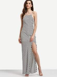 White Spaghetti Strap Backless Split Striped Dress
