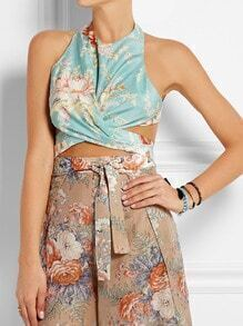 Blue Sleeveless Backless Floral Print Top