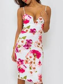 White Spaghetti Strap Patterned Stunning Floral Print Dress