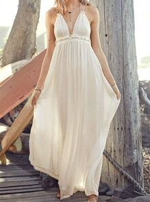 Beige Spaghetti Strap V Neck Backless Maxi Dress