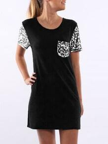 Black Short Sleeve Leopard Print T-Shirt Dress