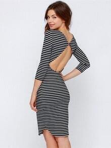 Black White Long Sleeve Striped Backless Dress