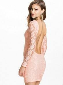 Pink Long Sleeve Backless Lace Dress