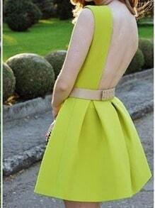 Neon Green Sleeveless Brightly Pretty Fabulous Trendy Backless Flare Dress