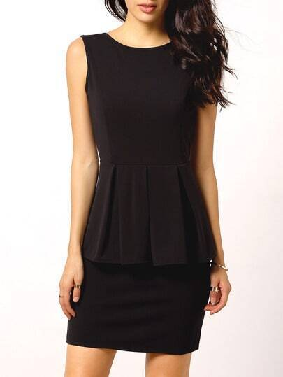 Black Sleeveless Backless Peplum Dress pictures