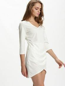 White V Neck Ruched Wrap Bodycon Dress