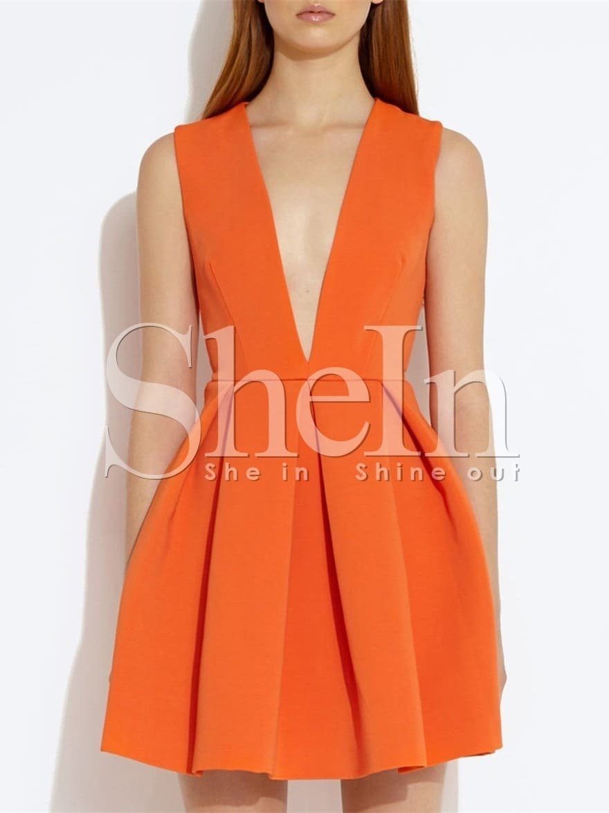 Orange Sleeveless V Neck Flare Dress