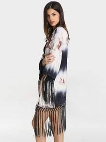 Grey Color Block Floral Tassel Kimono