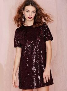 Wine Red Short Sleeve Sequined Dress