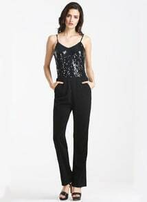 Black Spaghetti Strap Sequined Jumpsuit