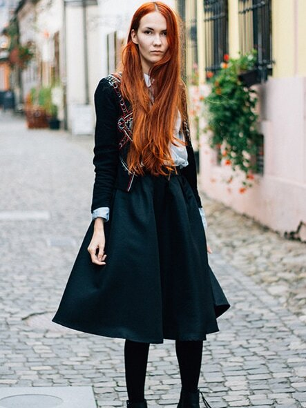 Black Flare Pleated Midi Skirt