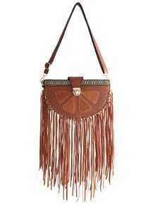 Brown With Tassel PU Shoulder Bag