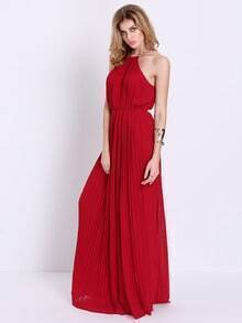 Wine Red Sleeveless Pleated Maxi Dress