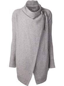 Grey Long Sleeve Cardigan Sweater