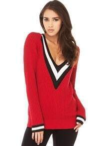 Red Long Sleeve V Neck Loose Sweater