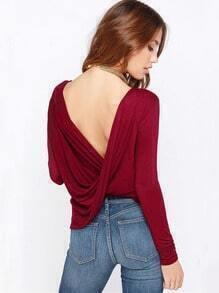 Wine Red Long Sleeve Cross Backless T-shirt