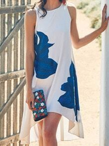 White Sleeveless Floral Boho Print Dress