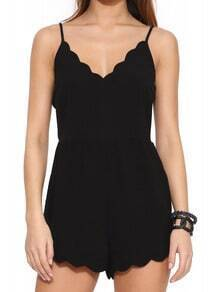Black Spaghetti Strap Playsuit