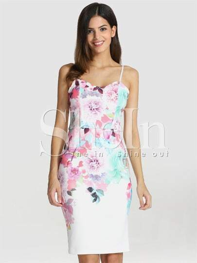 Multicolour Spaghetti Strap Floral Painted Print Dress
