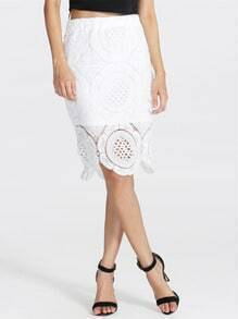 White Crochet Lace Skirt