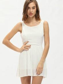 White Sleeveless Cut Out Back Dress