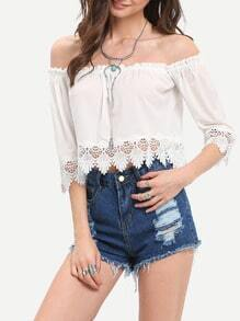 White Off The Shoulder With Lace Blouse
