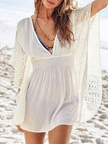 Beige Deep V Neck Crochet Lace Dress