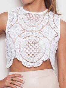 White Sleeveless Crochet Lace Crop Tank Top
