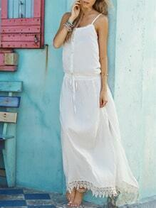 White Spaghetti Strap With Lace Maxi Dress