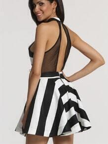 White Black Sleeveless Striped Flare Dress