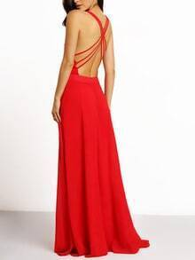 Red Spaghetti Strap Cross Back Maxi Dress