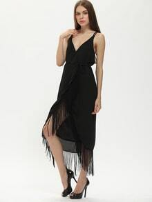Black Frocks Spaghetti Strap V Neck Tassel Trimmed Flapper Dress