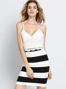 White Spaghetti Strap Lace Striped Dress
