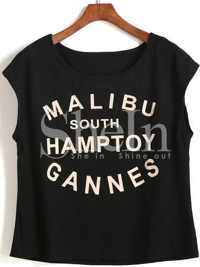 Black Cap Sleeve Letters Print T-shirt