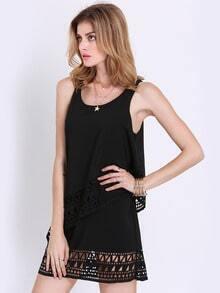 Black Sleeveless Hollow Ruffle Dress