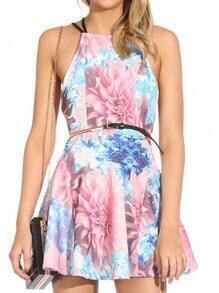 Pink Cross Back Floral Print Flare Dress