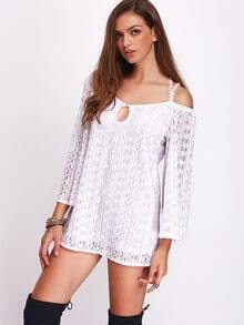 White Long Sleeve Cross Back Lace Dress