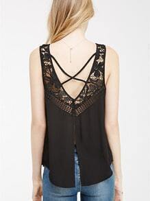 Black Sleeveless Crochet Lace Tank Top