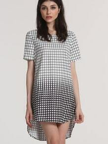 White Black Plaid Houndstooth High Low Dress