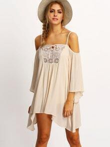 Beige Off the Shoulder Crochet Front Swing Dress