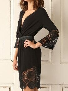Black Robe Deep V Neck With Lace Dress