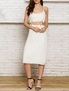 White Spaghetti Strap Cut Out Waist Maxi Dress