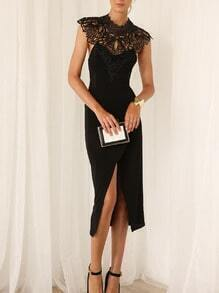 Black Crochet Lace Split Backless Dress