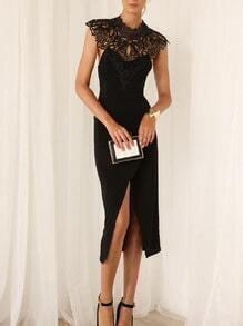 Black Crochet Lace Split Backless Dress