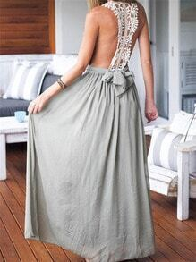 Grey Deep V Neck Contrast Lace Boho Maxi Dress