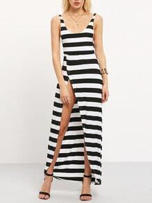 White Black Striped Split Backless Maxi Dress