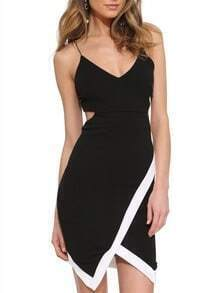 Black Spaghetti Strap Cut Out Back Dress