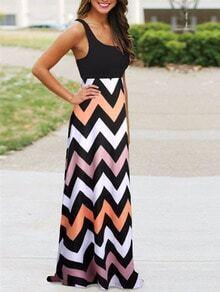 Scoop Neck Sleeveless Zigzag Dress