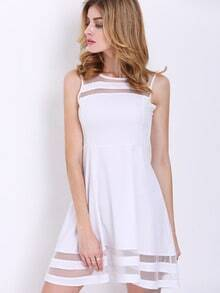 White Sleeveless Sheer Mesh Slim Dress