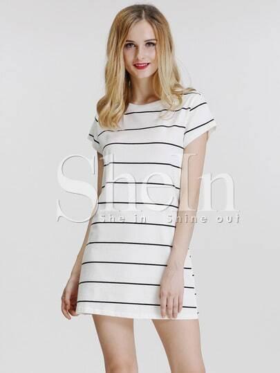 White Cap Sleeve Striped T-Shirt Dress